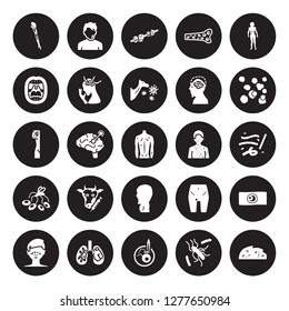 25 vector icon set : Mí©niíÂre's disease, Leishmaniasis, Leprosy, Leptospirosis, Leukemia, Mad cow Lupus erythematosus, Listeriosis, Lung cancer, Measles isolated on black background.