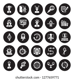 25 vector icon set : Grievance, time Balance, Time is money, management, mind, Attrition, Videocall, Timer, Urgent, Change management isolated on black background.