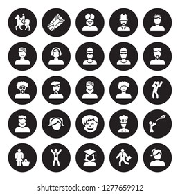 25 vector icon set : Man Horseriding, Going to work, Graduated, Happy man, Housewife shopping, face with goatee, curly hair and moustache, Little boy isolated on black background.