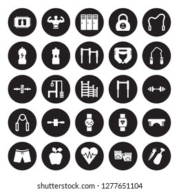 25 vector icon set : Mat, Fitness Gloves, fitness Heart, Nutrition, Shorts, Hand grip, Gym bars, Watch, Grip, Isotonic, Locker, Lumbar belt isolated on black background.