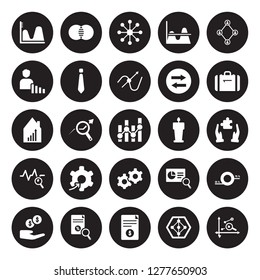 25 vector icon set : Wave chart, radar Report, Research, Revenue, Suitcase, Speech, Service, Sine Waves Analysis, User Stats, Variety, Venn diagram isolated on black background.