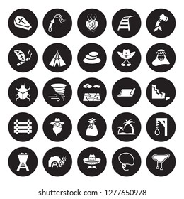 25 vector icon set : Wooden Coffin, Lasso, Mexican Hat, Mine, Mine Wagon, Sheik, Rug, Old Money Bag, Paddock, Tobacco, Tumbleweed, Whip isolated on black background.