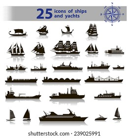 25 vector icons of black ships and yachts with reflection, inscription, wind rose on a white background