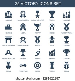 25 victory icons. Trendy victory icons white background. Included filled icons such as ranking, number medal, medal with star, trophy, medal. victory icon for web and mobile.