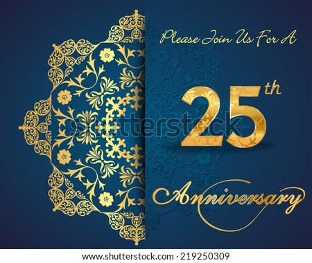 25 Year Anniversary Celebration Pattern Design Stock Vector Royalty