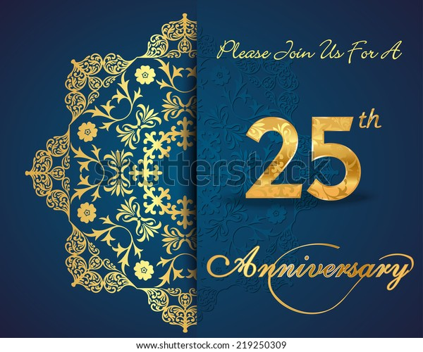 25 Year Anniversary Celebration Pattern Design Stock Vector ...