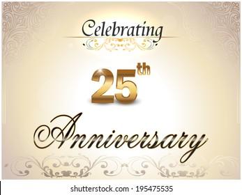 25 year anniversary golden label, 25th anniversary decorative golden emblem - vector illustration