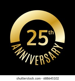 25 year anniversary icon. 25th celebration template for banner, invitation, birthday. Vector illustration.
