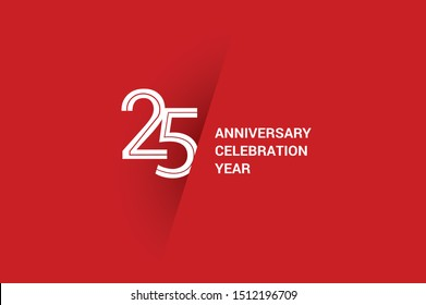 25 year anniversary, minimalist year logo jubilee, greeting card. Birthday invitation. White space vector illustration on Red background - Vector