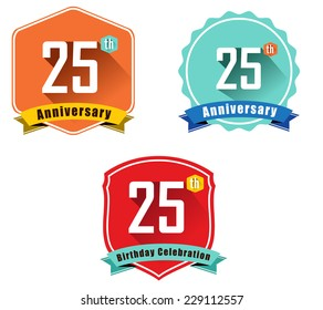 25 year birthday celebration flat color vintage label badge, 25th anniversary decorative  emblem - vector illustration eps10