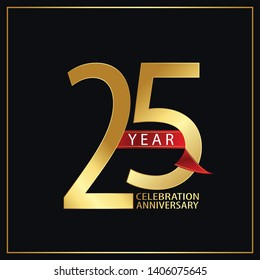 25 year minimalist logo years, jubilee, greeting card. Red and Gold Ribbons on Black Background with Golden Frame for Birthday invitation - Vector