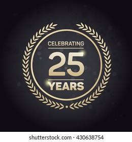 25 years Anniversary Badge on Black Background. Vector Illustration.