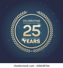 25 years Anniversary Badge on Navy Background. Vector Illustration.