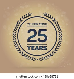 25 years Anniversary Badge on Gold Background. Vector Illustration.