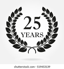 25 years. Anniversary or birthday icon with 25 years and  laurel wreath.