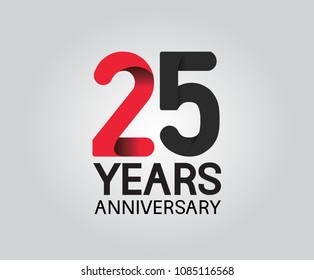 25 years anniversary black and red soft color for company celebration isolated on white background