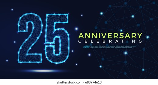 25 years anniversary celebrating numbers vector abstract polygonal silhouette. 25th anniversary. technology numbers vector illustration