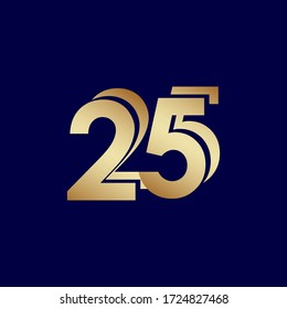 25 Years Anniversary Celebration Blue Gold Vector Template Design Illustration