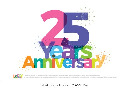 25 years anniversary celebration colorful logo with fireworks on white background. 25th anniversary logotype template design for banner, poster, card vector illustrator