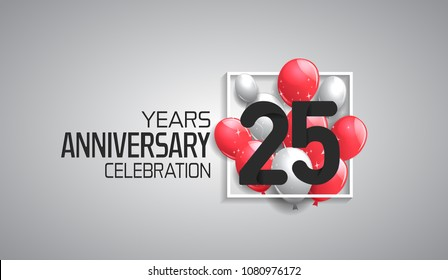 25 years anniversary celebration for company with balloons in square isolated on white background