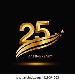 25 Years Anniversary Celebration Design. - gold swoosh and star on black background