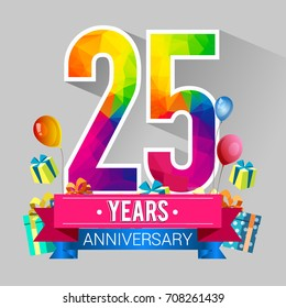 25 Years Anniversary Celebration Design, with gift box and balloons, red ribbon, Colorful polygonal logotype, Vector template elements for your birthday party.