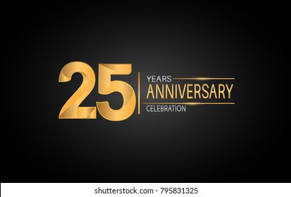 25 years anniversary celebration design with silver and gold color composition isolated on black background