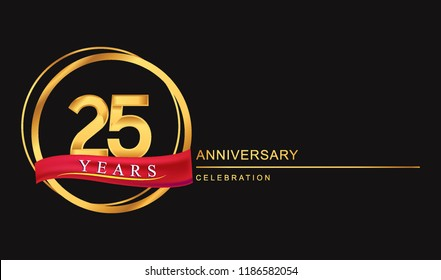 25 years anniversary celebration with golden color and ring, red ribbon for anniversary celebration