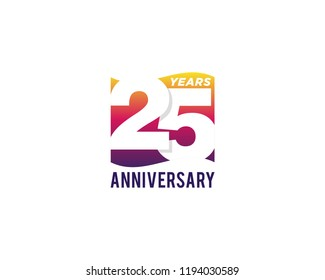 25 Years Anniversary Celebration Icon Vector Logo Design Template. Gradient Flag Style.