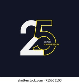 25 years anniversary celebration linked number logo, isolated on dark background