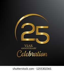25 years anniversary celebration. Anniversary logo with swoosh and elegance golden color isolated on black background, vector design for celebration, invitation card, and greeting card