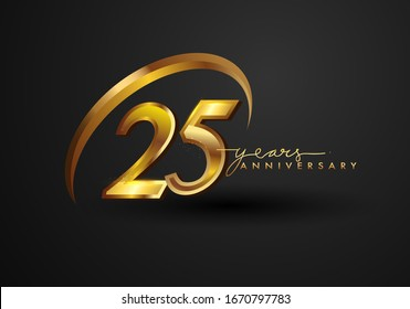 25 Years Anniversary Celebration. Anniversary logo with ring and elegance golden color isolated on black background, vector design for celebration, invitation card, and greeting card