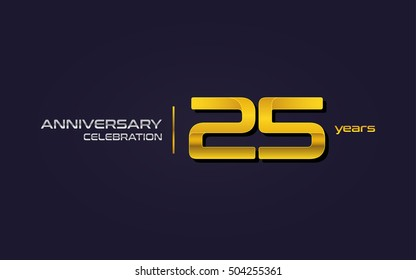 25 Years Anniversary Celebration Logo, Yellow, Isolated on Dark Purple Background