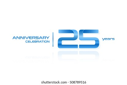 25 years anniversary celebration logo, blue, isolated on white background