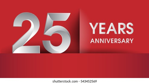 25 Years Anniversary celebration logo, flat design isolated on red background, vector elements for banner, invitation card and birthday party.