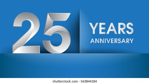 25 years Anniversary celebration logo, flat design isolated on blue background, vector elements for banner, invitation card and birthday party.
