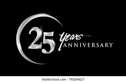 25 years anniversary celebration. Anniversary logo with silver ring elegant design isolated on black background, vector design for celebration, invitation card, and greeting card
