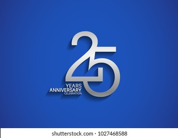 25 years anniversary celebration logotype with silver color isolated on blue background