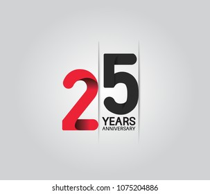 25 years anniversary celebration logotype. anniversary logo with red and black color isolated on white background, vector design for celebration, invitation card, and greeting card