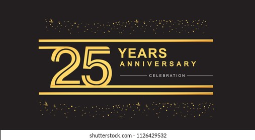 25 years anniversary celebration logotype with golden multiple line and confetti golden color isolated on black background, vector design for greeting card and invitation card