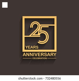 25 years anniversary celebration logotype style linked line in the square with golden color. vector illustration isolated on dark background