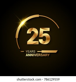 25 Years Anniversary Celebration Logotype. Golden Elegant Vector Illustration with Half Circle, Isolated on Black Background can be use for Celebration, Invitation, and Greeting card
