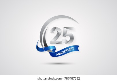 25 Years Anniversary Celebration Logotype. Silver Elegant Vector Illustration  with Swoosh,  Isolated on white Background can be use for Celebration, Invitation, and Greeting card