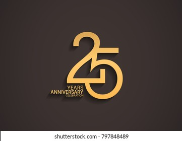 25 years anniversary celebration logotype with elegant gold color for celebration
