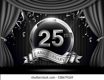 25 years anniversary celebration. with silver ribbon. Curtain background and light shine.