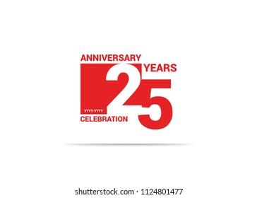 25 Years Anniversary celebration simple red design logo type. silhouette number inside white box vector illustration.