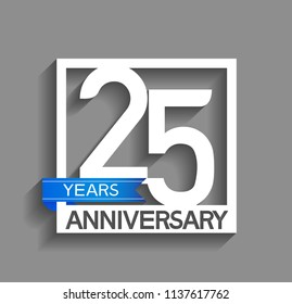 25 years anniversary celebration square style blue ribbon isolated on gray background