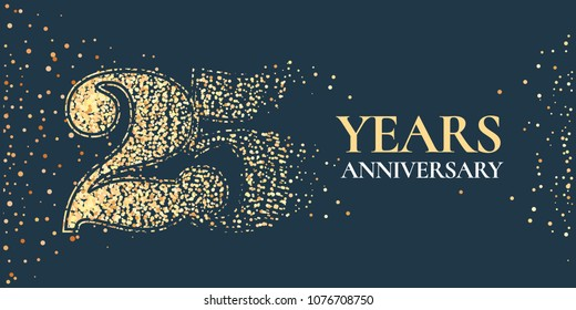 25 years anniversary celebration vector icon, logo. Template horizontal design element with golden glitter stamp for 25th anniversary greeting card