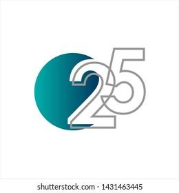 25 Years Anniversary Celebration Vector Template Design Illustration