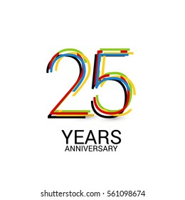 25 Years Anniversary Colorful Logo Celebration Isolated on White Background